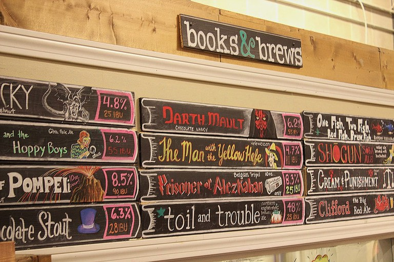Some of the featured craft beers at Books & Brews  Courtesy Books & Brews