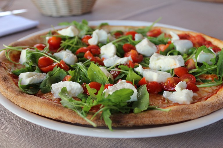 Dough Mozarella Eat Pizza Basil Italian Italy