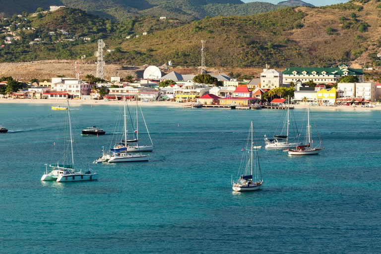 Coastline, beaches and shopping in St. Maarten, Eastern Caribbean