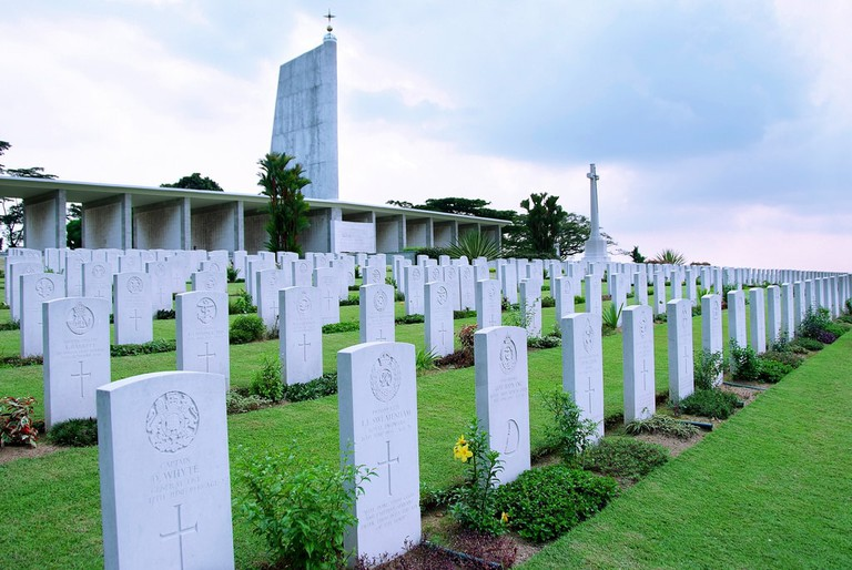 Rows of tombstones at Kranji War Cemetery