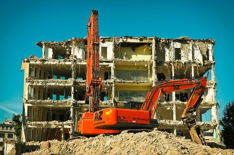 Excavators Demolition Site Construction Work Work
