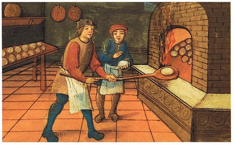 Medieval bakers making bread