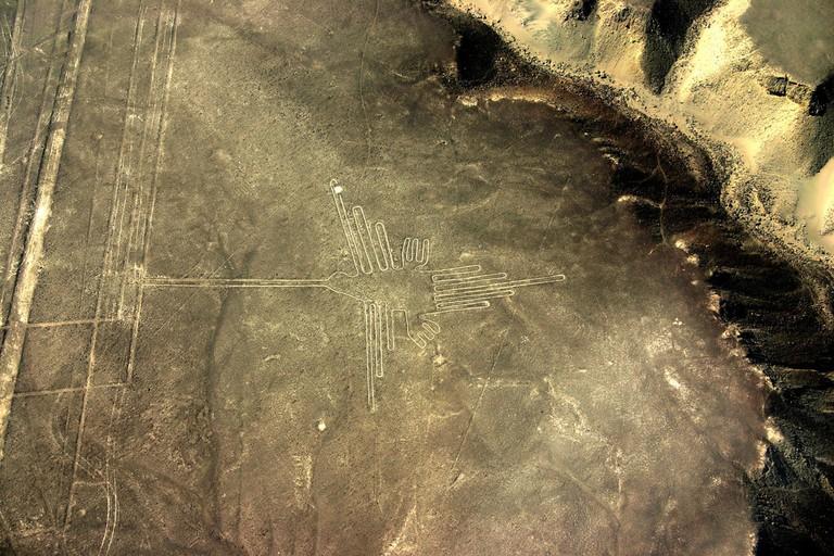 The figure of a hummingbird, Nazca Lines, Peru