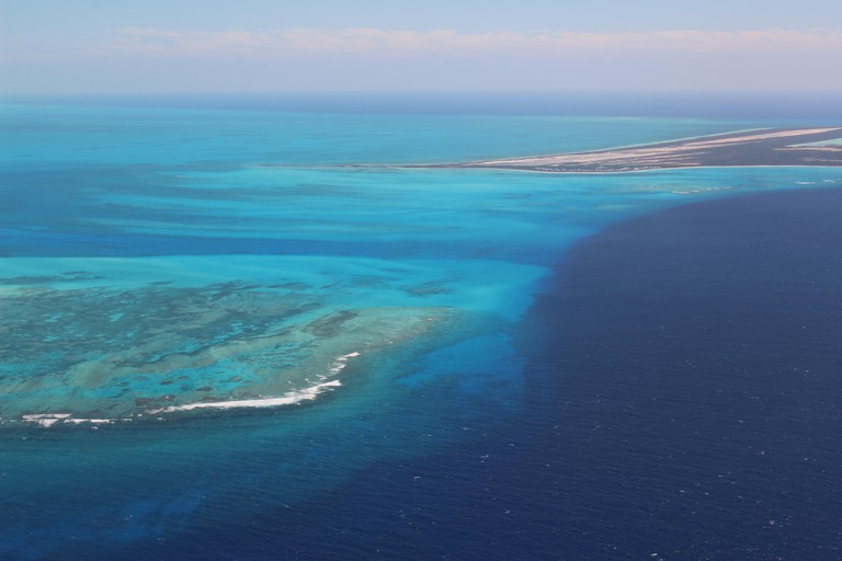 Aerial view flying over the Turks and Caicos Islands.