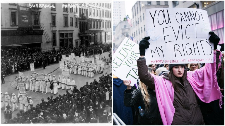 L:Women's parade in NYC   © fasttrackteaching.com  R: Women's March in NYC (2017)   © Karla Cote / Flickr