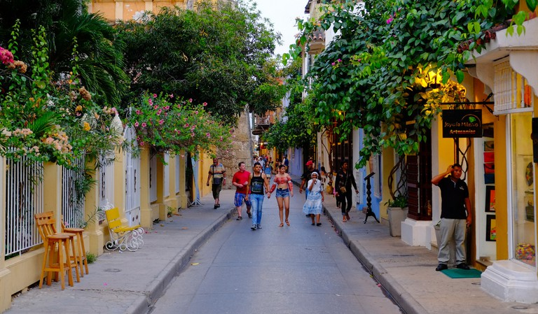 The leafy passageways of Cartagena, Colombia
