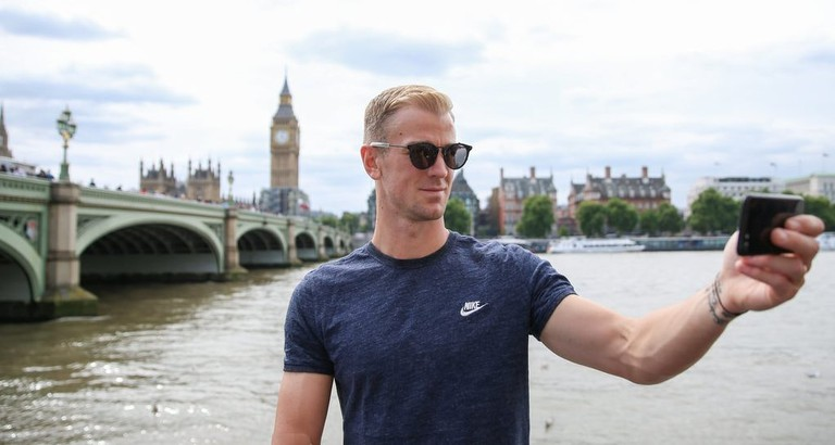 England international goalkeeper Joe Hart using the Selfie Guide app in London