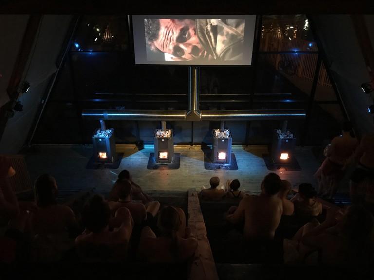 Movie night at the sauna | © Morten Høylo, Courtesy of SALT