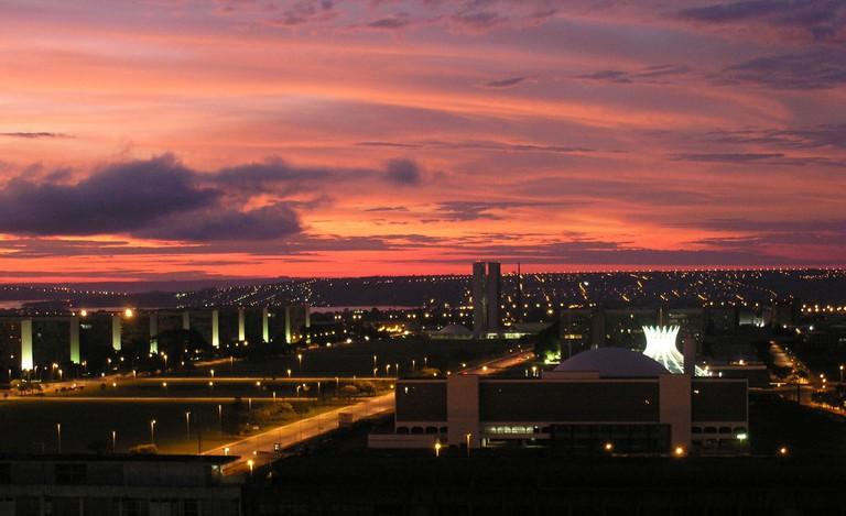 Sunset over the Brazilian capital of Brasilia, an architectural wonder
