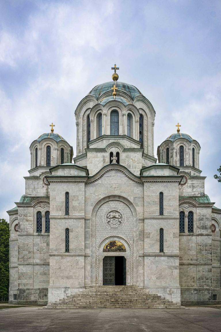 Serbian Karadjordjevic king dynasty church mausoleum at Oplenac at town of Topola, central Serbia.