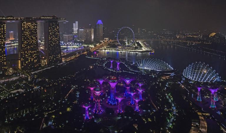 Singapore Marina Bay Aerial View