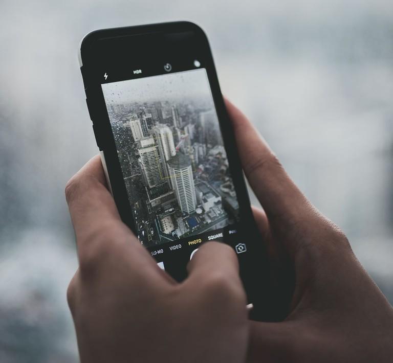 Singapore skyline on mobile