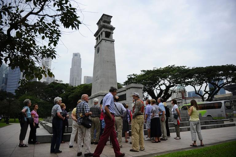 Tour group at Cenotaph, Singapore