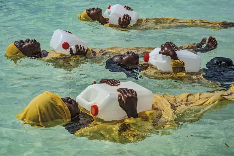 Anna Boyiazis, 'Kijini Primary School students learn to float, swim, and perform rescues in the Indian Ocean off of Mnyuni, Zanzibar', 2016 | © Anna Boyiazis