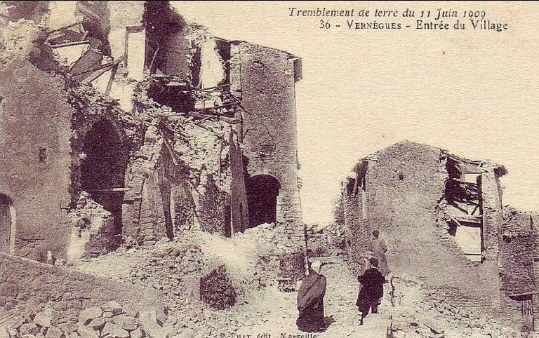 The damage from the earthquake in Provence, France in 1909 that killed 46 people