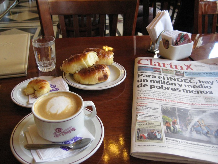 A typical Argentine breakfast of coffee and medialunas