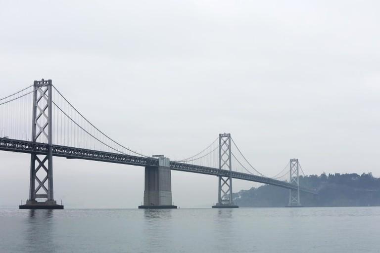 bridge, fog, sky, sea, suspension bridge, köprü
