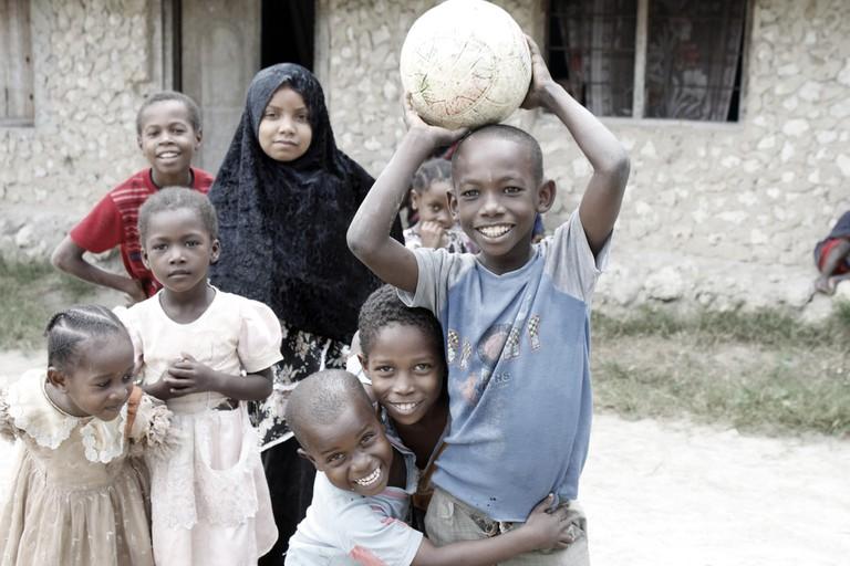 Smiling Tanzanian youth