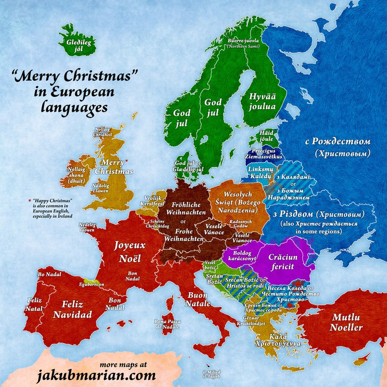 This map shows you how to say merry christmas in every european map of european christmas greetings a m4hsunfo