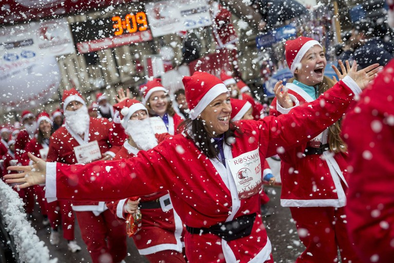 AP Hungary Santa Run