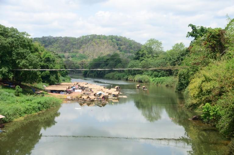 A bamboo raft on the Nan River in Hardpharkon village, nan province, Thailand