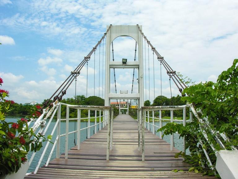 White bridge, Pak Nam Pho, Nakhon Sawan, Thailand