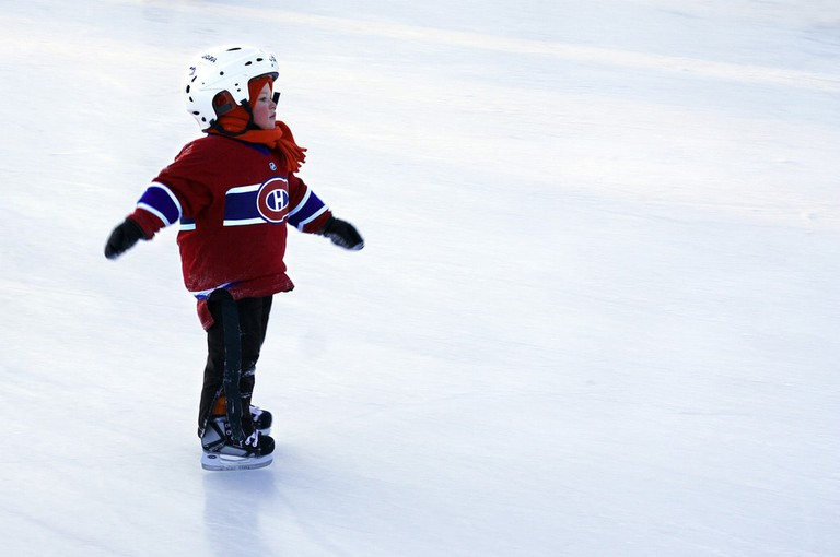 Skating in a Canadiens jersey