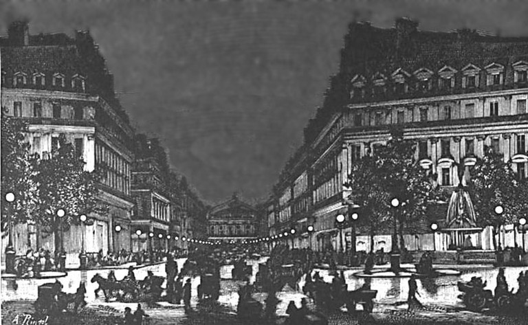 Yablochkov_candles_illuminating_Avenue_de_l'Opera_ca1878