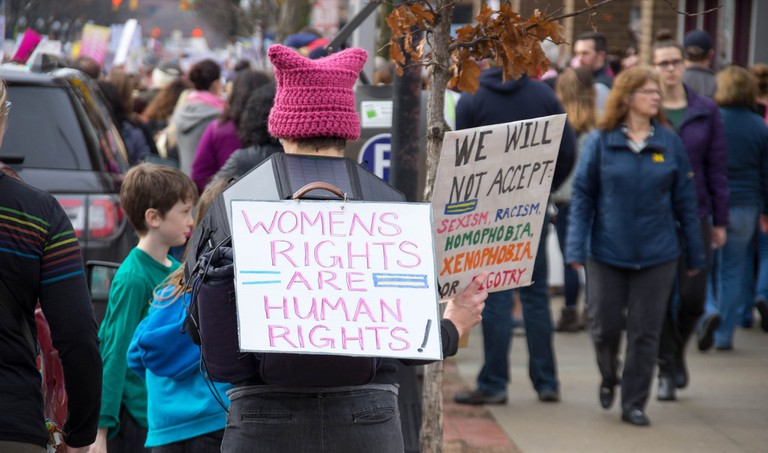 Protestors at the 2017 sister march in Ann Arbor, Michigan | © John C. Rivard/Flickr