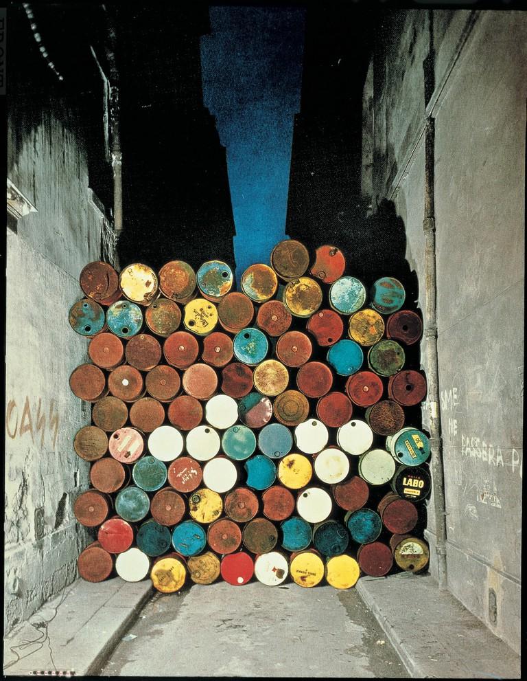 Christo and Jeanne-Claude, 'Wall of Oil Barrels – The Iron Curtain', Rue Visconti, Paris, 1961–1962 | Photo: Jean-Dominique Lajoux © 1962 Christo