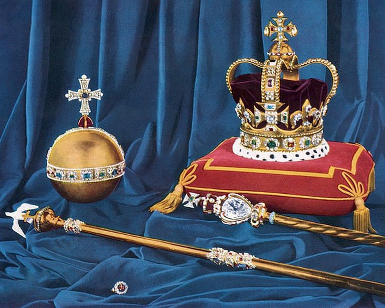 """<a href=""""https://commons.wikimedia.org/wiki/File:Crown_Jewels.jpg"""" target=""""_blank"""" rel=""""noopener"""">UK Government (Public Domain) via WikiCommons</a>"""