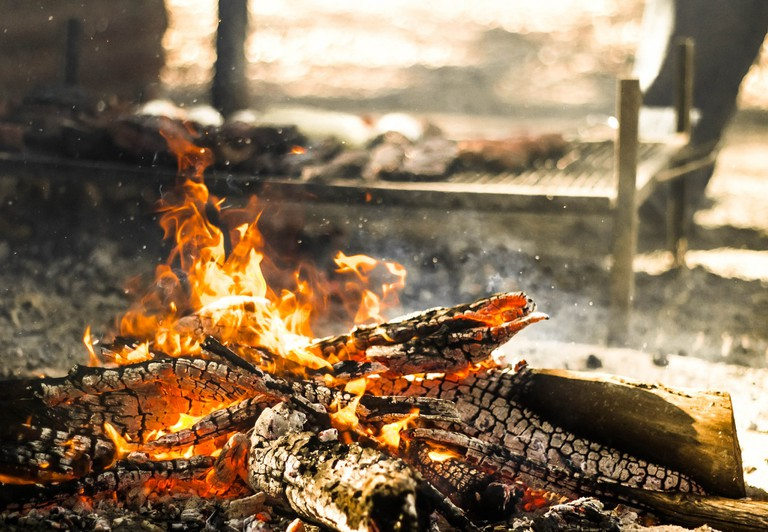 Flame grilled meat in Argentina