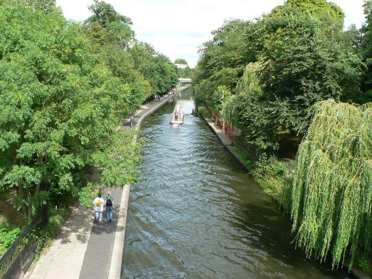 Regent's Canal running through Regent's Park