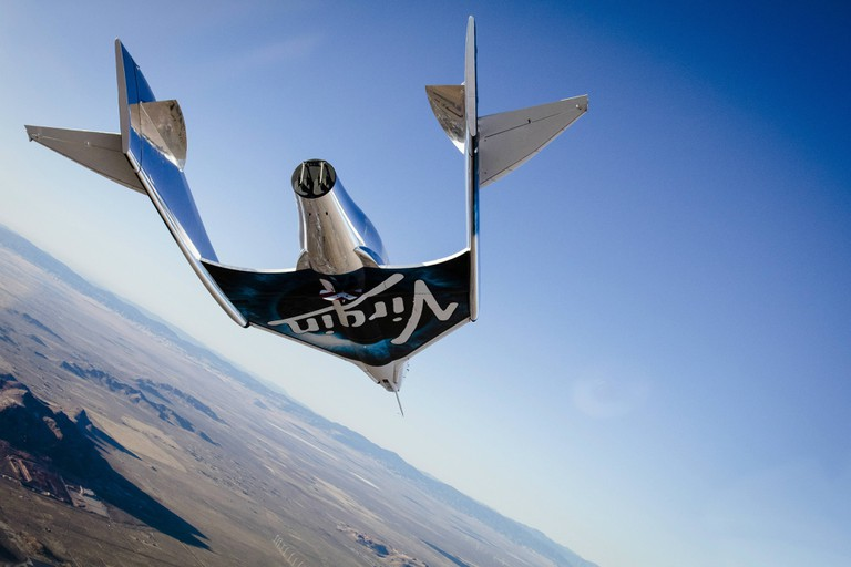 Virgin Spaceship Unity (VSS Unity) glides for the first time after being released from Virgin Mothership Eve (VMS Eve) over the Mojave Desert on 3rd, December 2016 | © Virgin Galactic
