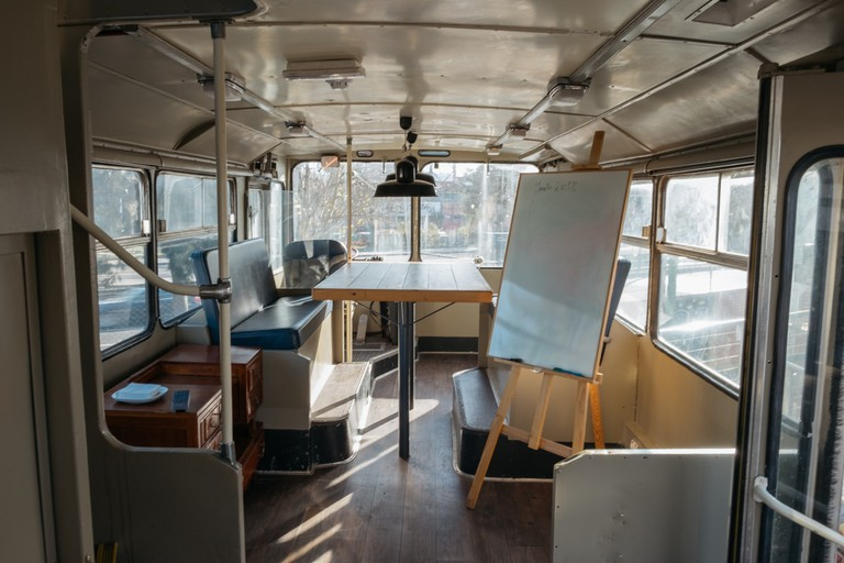 WATSON - LISBON - PORTUGAL- BUS TURNED CONFERENCE ROOM AT VILLAGE UNDERGROUND