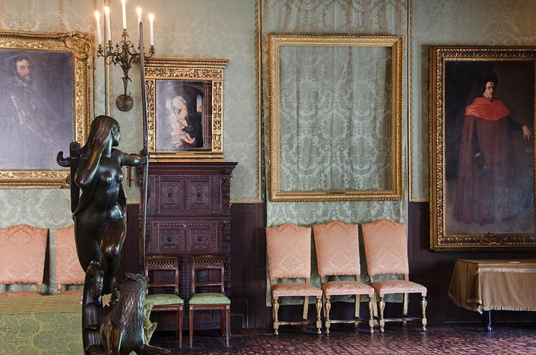 """An empty frame remains where 'The Storm on the Sea of Galilee' was once displayed 