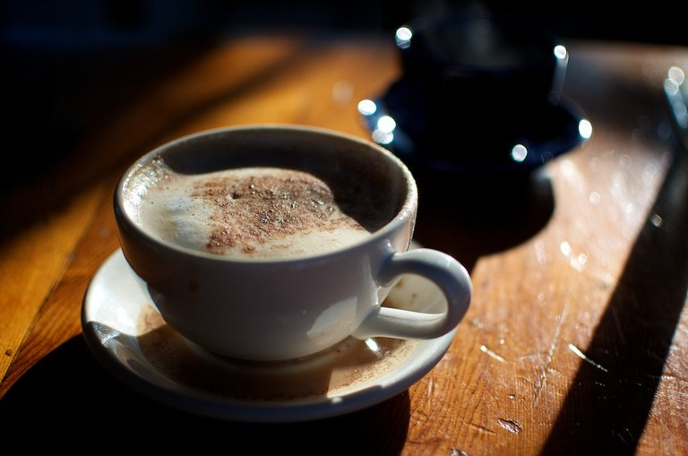 A wonderfully delicious mocha in the warm morning light of Tofino.
