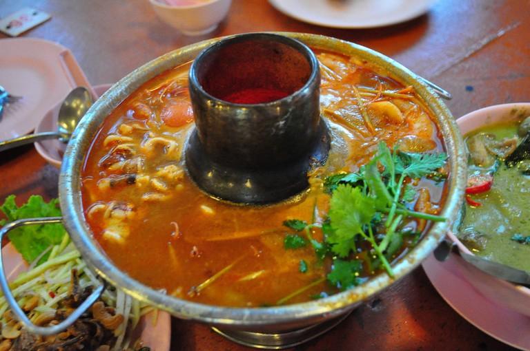 Tom yam gung, a Thai soup