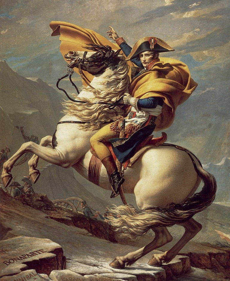"Jacques-Louis David, 'Napoleon Crossing the Alps', 1801 | <a href=""https://en.wikipedia.org/wiki/Napoleon_Crossing_the_Alps#/media/File:David_-_Napoleon_crossing_the_Alps_-_Malmaison2.jpg"" target=""_blank"" rel=""noopener"">© WikiCommons</a>"