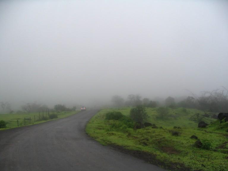 Fog engulfed Road in Mulshi Ghat, Pune
