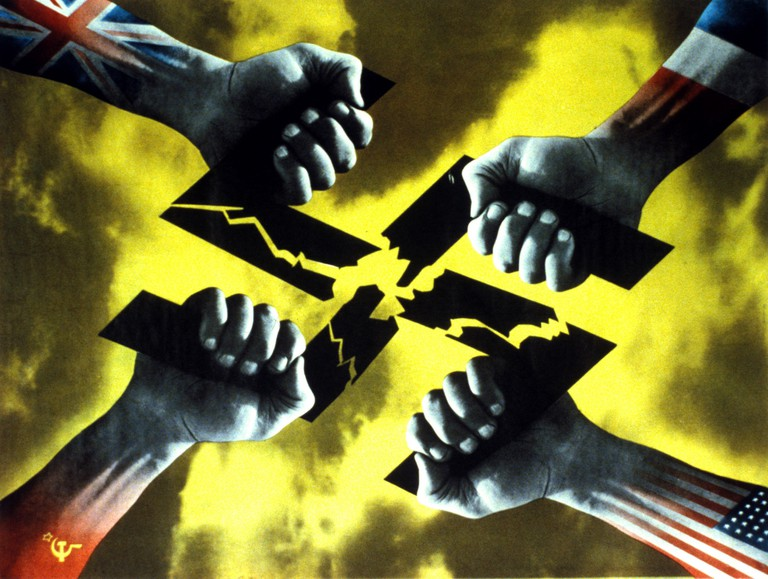 Four Hands poster, 1944, FHK Henrion, credit FHK Henrion Archive, University of Brighton Design Archives, by courtesy of the Henrion estate