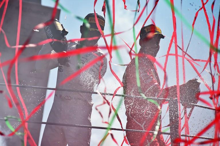 Lewis Hamilton celebrates at the Italian Formula One Grand Prix in Monza, September 2017 | Rexfeatures/eel-fotografie /action press