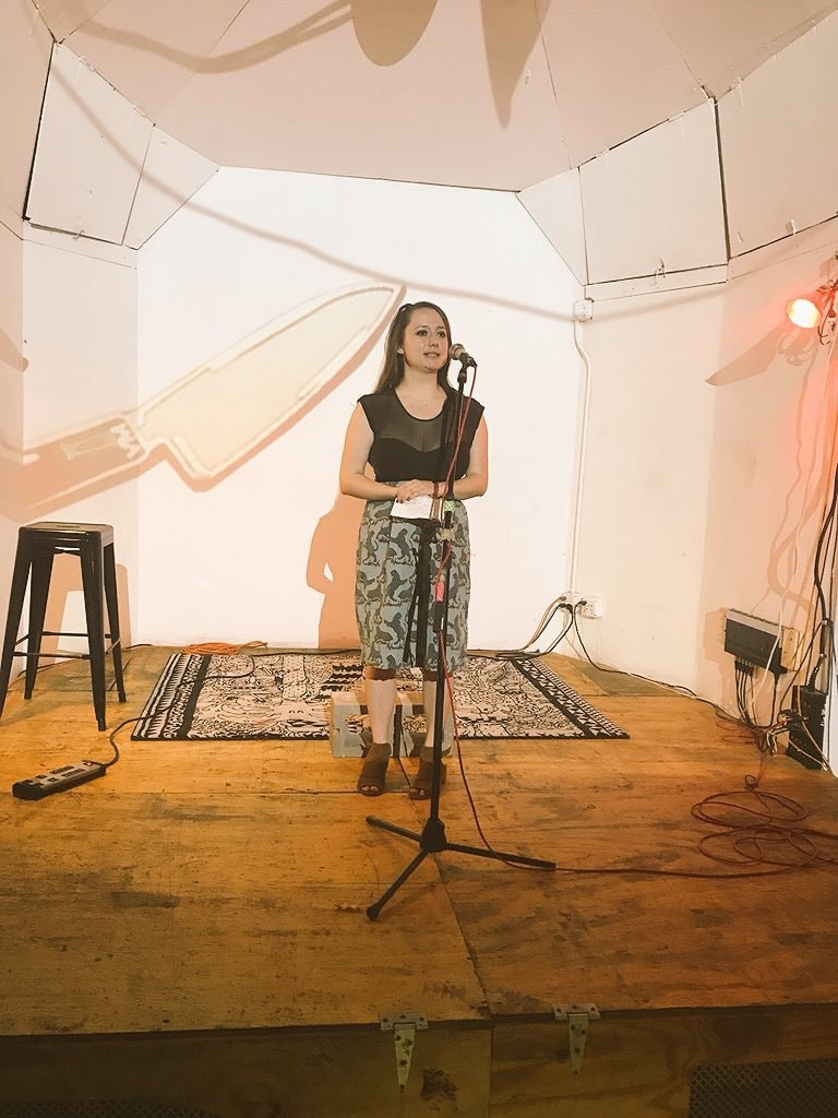 Becca Schuh at the <em>Triangle House Review</em> launch party | ©Miles Goodrich