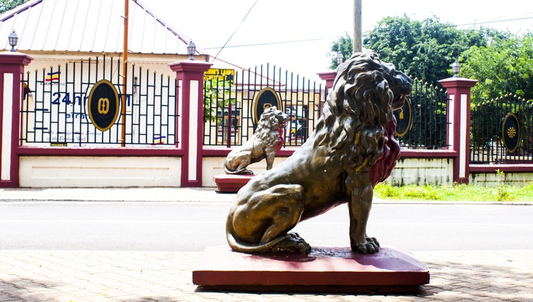 Lion statues denote the pride, strength and sovereignty of the Ashanti Kingdom