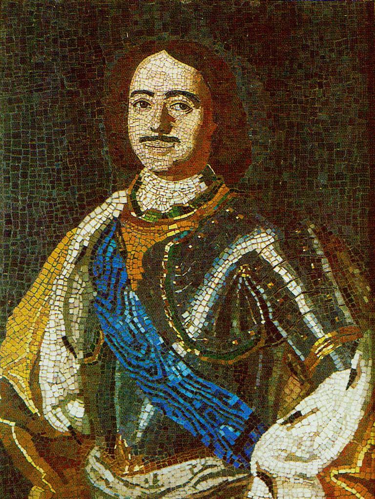 Portrait of Peter I. Mosaic. Done by M. Lomonosov. 1754.
