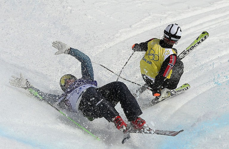 Scott Kneller (Australia), left, and Thomas Borge Lie (Norway) crash at 2014 Sochi | © Sergei Grits/AP/REX/Shutterstock