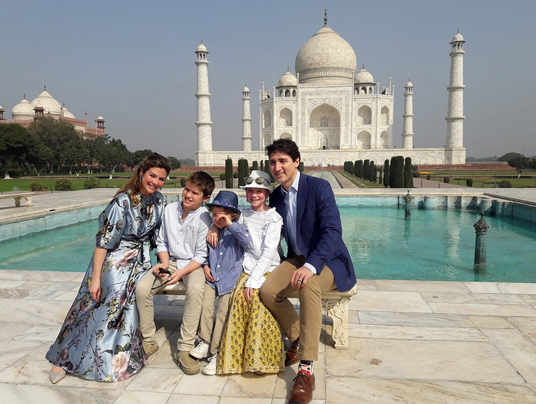 Justin Trudeau with his family at the Taj Mahal, Agra, India - 18 Feb 2018