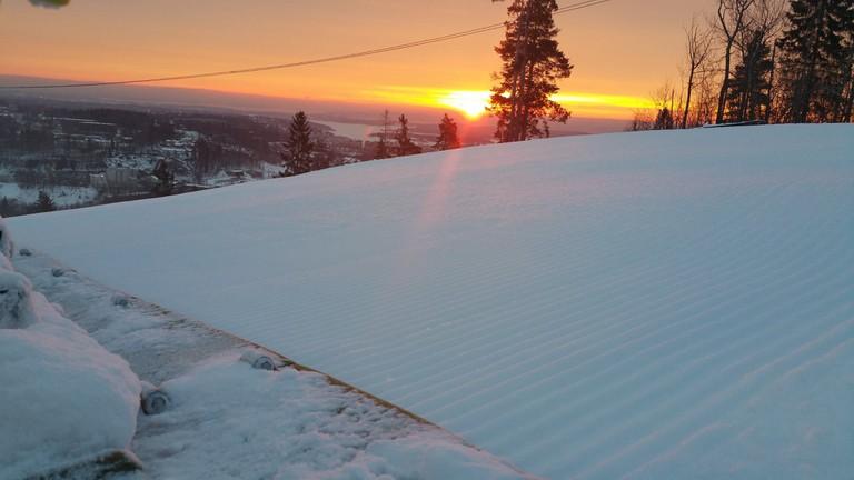 Sunset at the slope | Courtesy of Kirkerudbakken skisenter