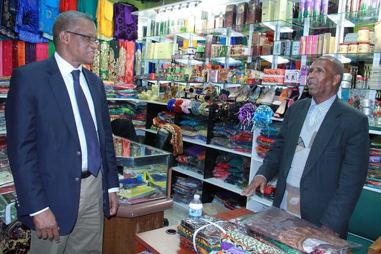 The AU Special Representative for Somalia and head of AMISOM Ambassador Maman Sidikou talk in Minnesota AMISOM Public Information