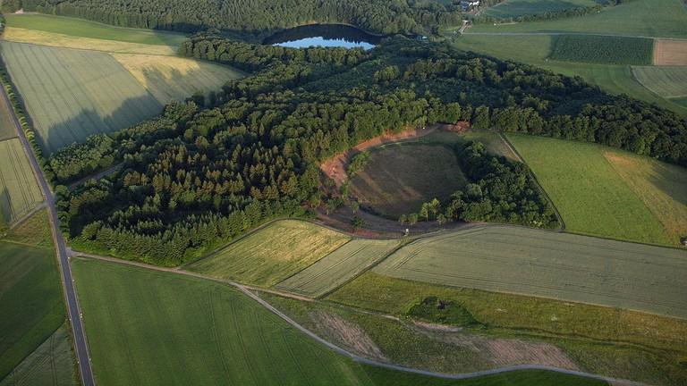 The Hitsche Maar (front) Dürres Maar (center) and Holzmaar (rear), 2015 aerial photograph